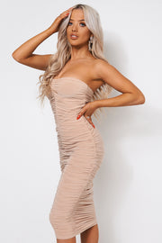 Lois Champagne Ruched Strapless Bodycon Dress
