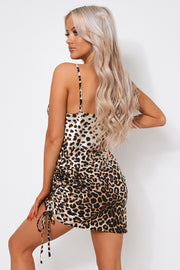 Leopard Print Satin Ruched Slip Dress
