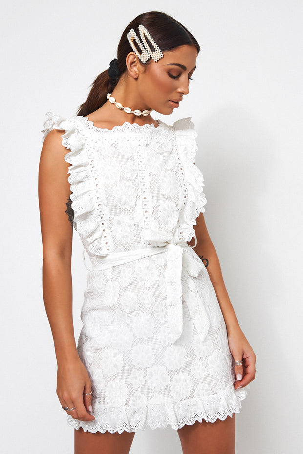 Aras Petite White Lace Frill Dress