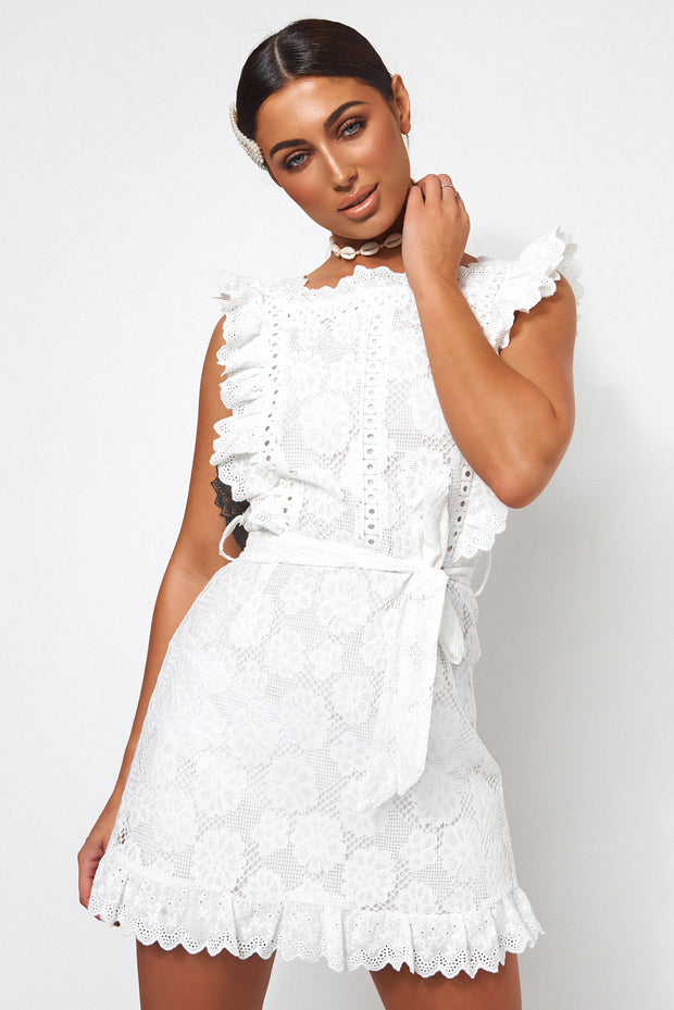Petite Aras White Lace Frill Dress