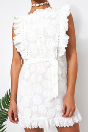 Aras White Lace Frill Dress