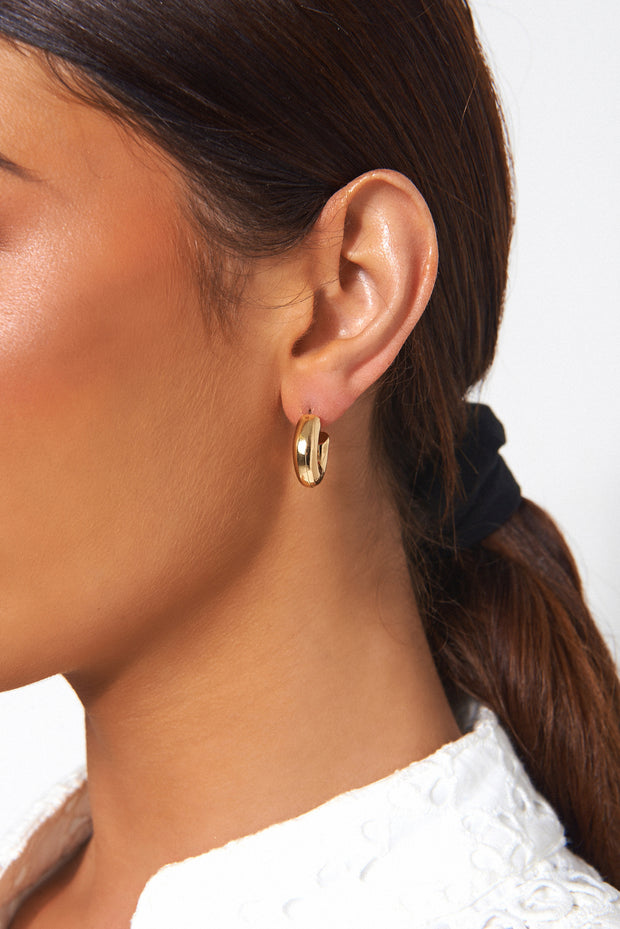 Small Chunky Gold Hoop Earrings
