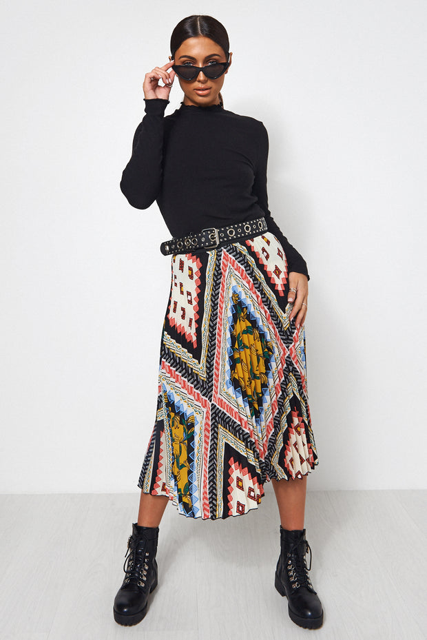 Tropical Print Aztec Pleated Midi Skirt