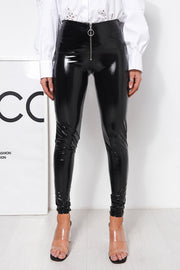 Black Vinyl Zip Front Leggings