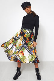 Black Tropical Print Aztec Pleated Midi Skirt
