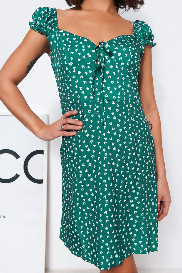 Green Heart Print Shift Dress