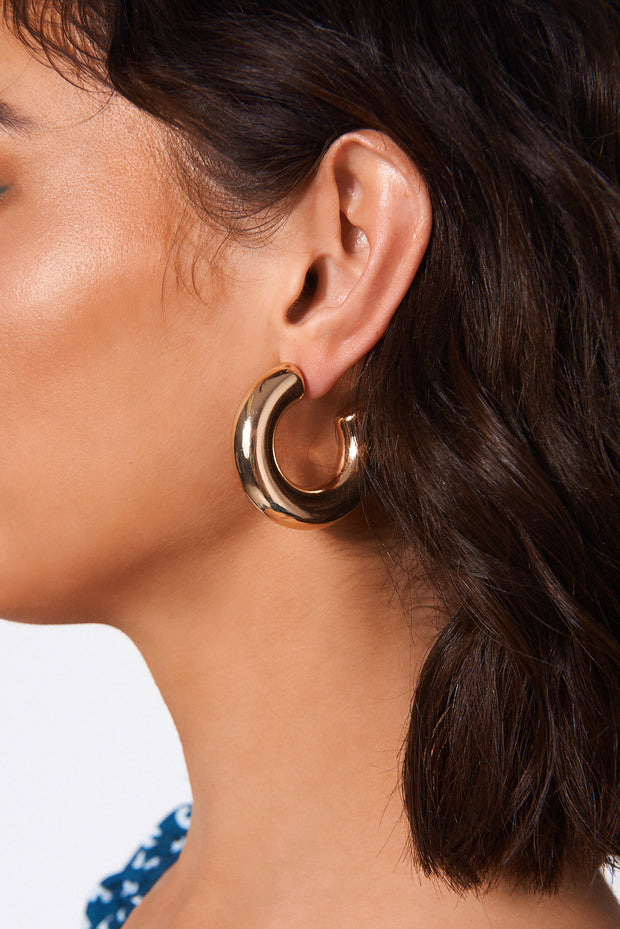 Gold Hoop Chunky Earrings