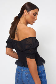 Black Milkmaid Bardot Frill Crop Top