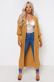 Mustard Oversized Balloon Sleeve Long Maxi Cardigan