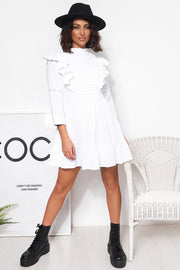 Lira White Prairie Ruffle Frill Shift Dress