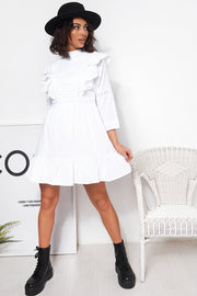 White Prairie Ruffle Frill Shift Dress