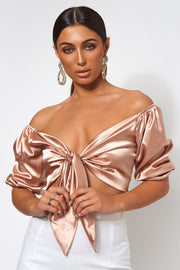 Gold Satin Tie Top