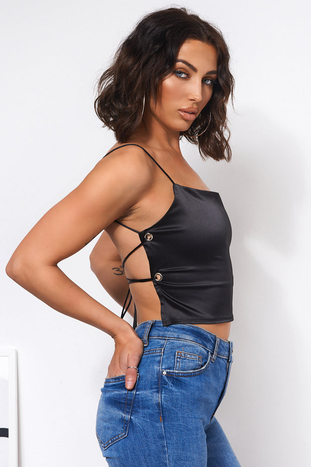 Black Satin Ring Top