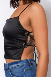 Zola Black Backless Satin Ring Top
