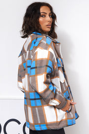 Blue Checked Shirt Jacket Shacket