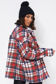 Red Checked Print Shacket