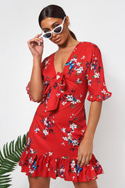 Red Floral Frill Mini Dress