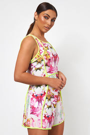 Neon Lime Floral Playsuit