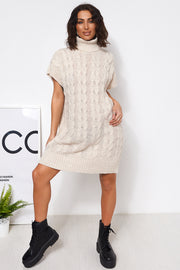 Zola Beige Polo Neck Jumper Dress