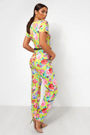 Neon Green Floral Gold Belted Jumpsuit