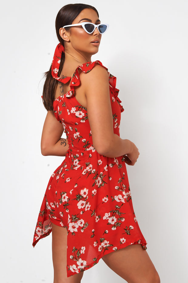 2fd6bcc46d Erin Red Floral Bardot Playsuit