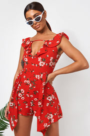 Erin Red Floral Bardot Playsuit