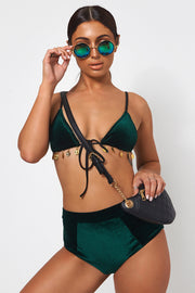 Green Velvet High Waisted Festival Set