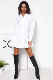White Long Sleeve Pleated Shirt Dress