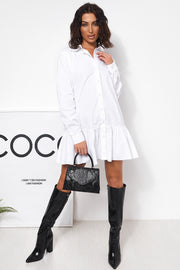 White Long Sleeve Pleated Dress