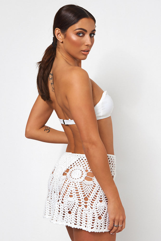 Malui White Crochet Mini Skirt