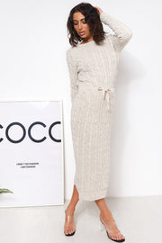 Ela Beige Wool Maxi Dress