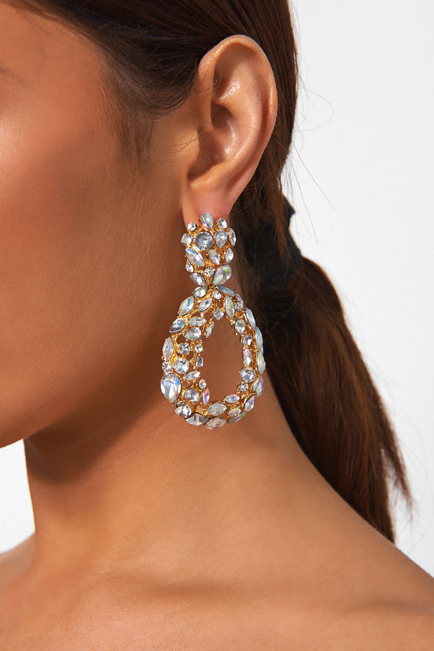 White Crystal Oval Statement Earrings