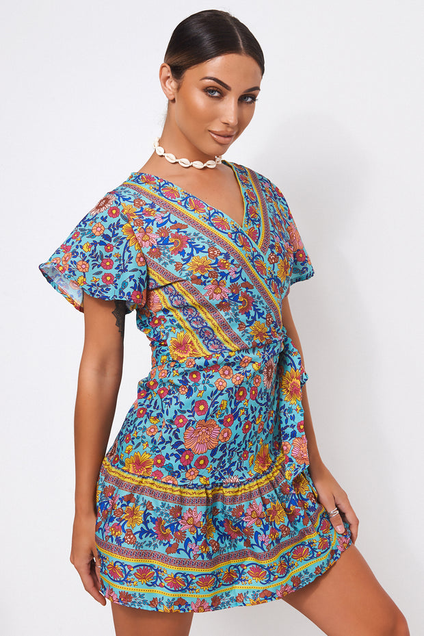 Tiki Turquoise Floral Wrap Dress