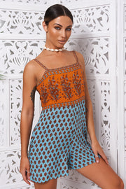 Tilly Orange Boho Playsuit