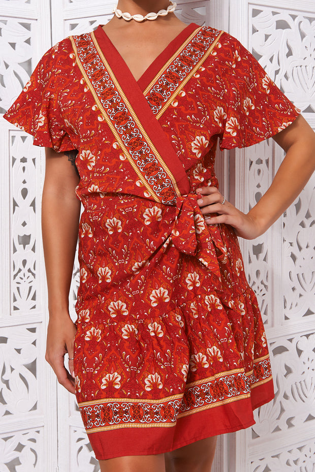 Rimini Red Floral Wrap Dress