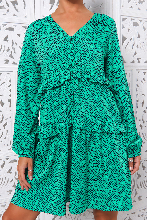 Green Polka Dot Smock Dress