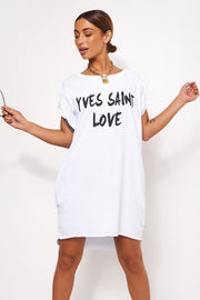 White Oversized Slogan T-Shirt Dress