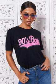 90s Baby Black Oversized Slogan T-Shirt