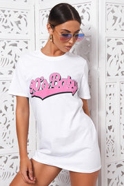 90s Baby White Oversized Slogan T-Shirt