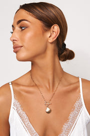Gold Seashell T Bar Necklace