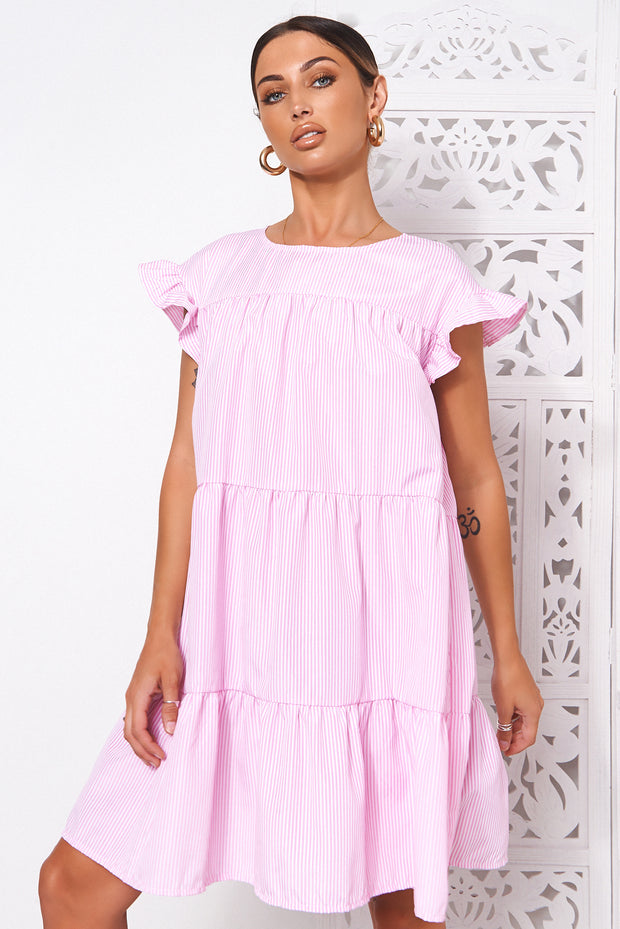 Luca Pink Candy Stripe Smock Dress