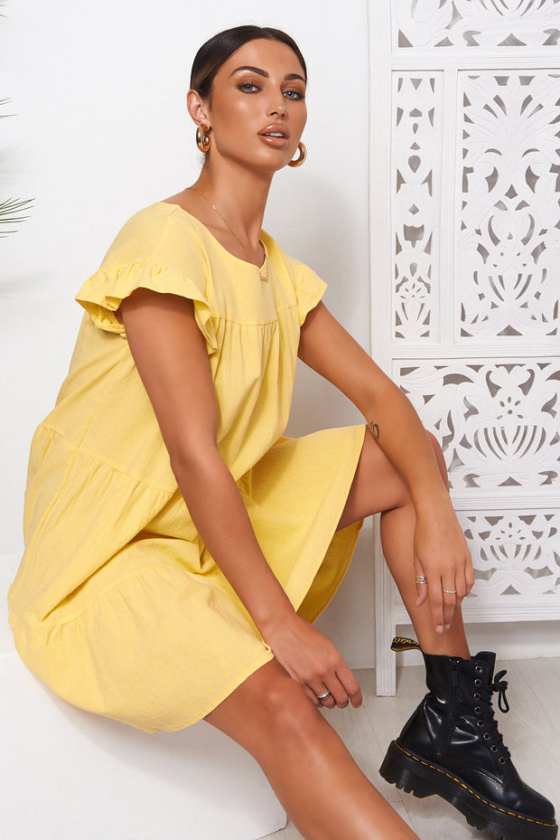 Monet Yellow Frill Smock Dress