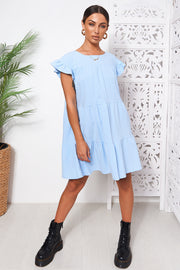 Monet Blue Frill Smock Dress