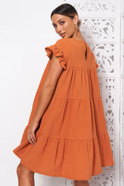 Monet Rust Frill Smock Dress