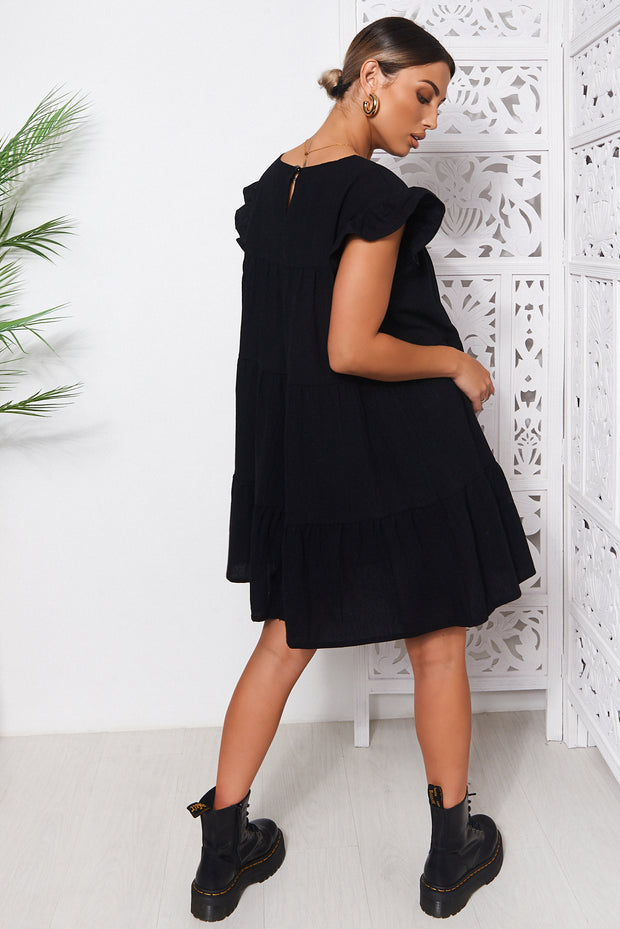 Monet Black Frill Smock Dress