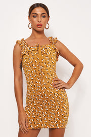 Gia Mustard Floral Ditsy Print Mini Dress