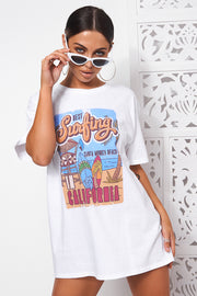 White Oversized California Surfing Tee