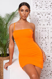 Hudson Orange One Shoulder Ruched Bodycon Dress