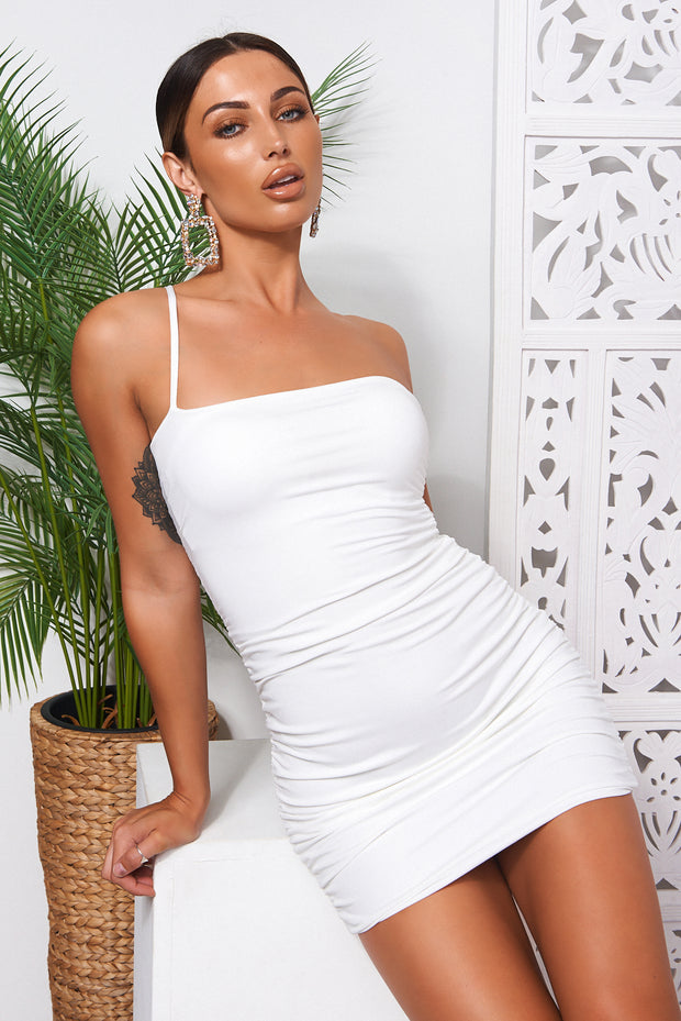 Hudson White One Shoulder Ruched Bodycon Dress