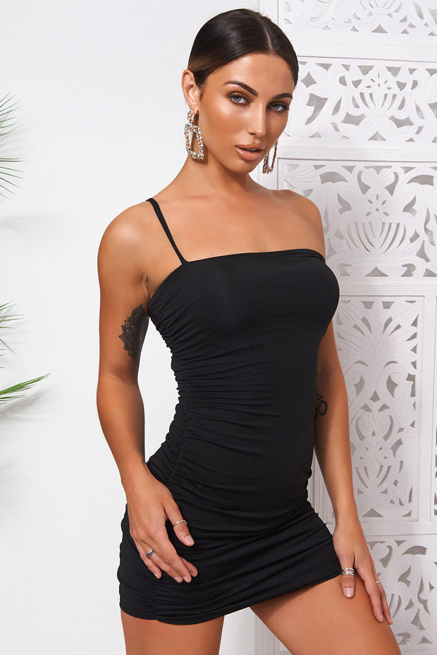 Hudson Black One Shoulder Ruched Bodycon Dress